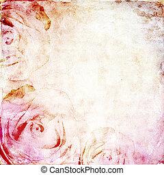 aquarell, raum, hintergrund, rosen, text, weinlese