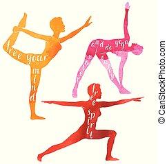 aquarell, silhouetten, von, frau, machen, joga, oder, pilates, exercise., joga, motivation