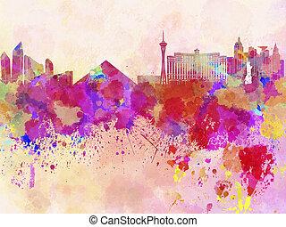 aquarell, skyline, las vegas, hintergrund, las