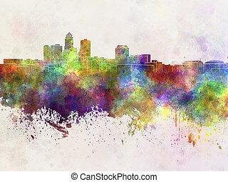 aquarell, skyline, moines, graus, hintergrund
