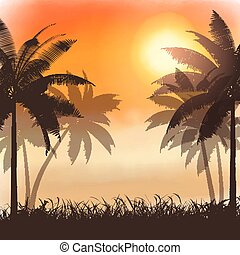 aquarell, sonnenuntergang, silhouetten, palmen