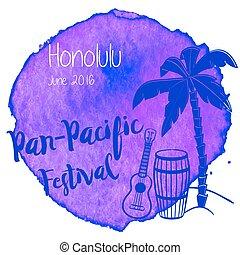 aquarell, tropische , graphischer entwurf, hawaiianer