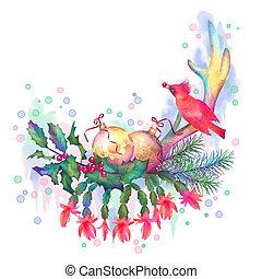 Aquarell weihnachten fr hlich zeichnung frohe weihnacht stock illustrationen clipart - Aquarell weihnachten ...
