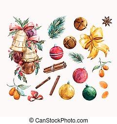 Aquarell weihnachten vektor satz satz aquarell vektor design weihnachten elemente - Aquarell weihnachten ...