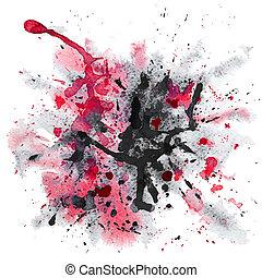 aquarelle, éclaboussure, rouge noir