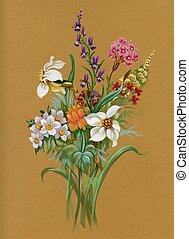 aquarelle, été, flore, collection: