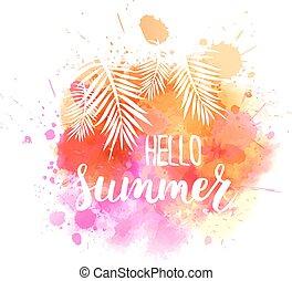 aquarelle, été, message, éclaboussure, bonjour