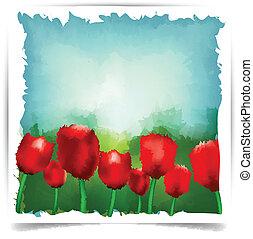 aquarelle, été, tulipes, arrière-plan.