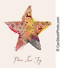 aquarelle, étoile, noël carte, salutation