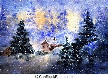 aquarelle, 図画, 冬の景色, 国
