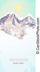 aquarelle, affiche, à, paysage montagne, pour, ton, conception