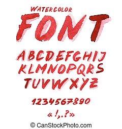 aquarelle, alphabet, symbols., nombres, manuscrit