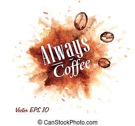 aquarelle, always, café, badges.