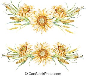 aquarelle, automne, arrangement floral