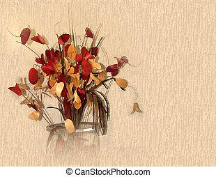 aquarelle, automne, fleurs, sec, couleurs