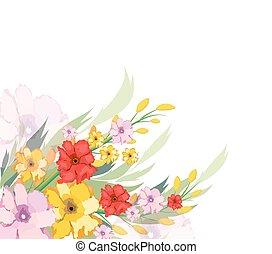 aquarelle, automne, fleurs
