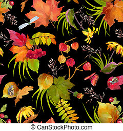 aquarelle, automne, modèle