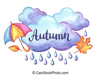 Aquarelle background with autumn elements. - Set of...