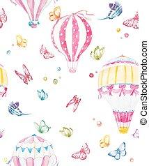 aquarelle, baloon, air, vecteur, modèle