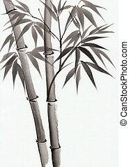 aquarelle, bambou, peinture
