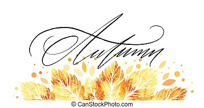 aquarelle, banner., peint, feuilles, illustration, automne, vecteur, fond, automne, design.