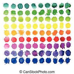 aquarelle, blanc, isolé, coloré, eclabousse