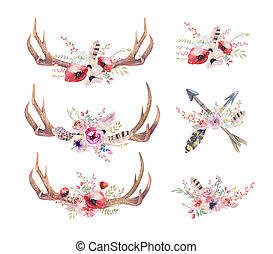 aquarelle, bohémien, cerf, horns., occidental, mammals.,...