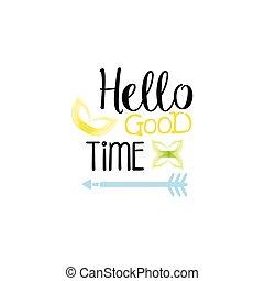 aquarelle, bon, étiquette, stylisé, temps, message, bonjour