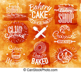 aquarelle, boulangerie, caractères
