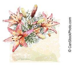 aquarelle, bouquet, lis, illustration