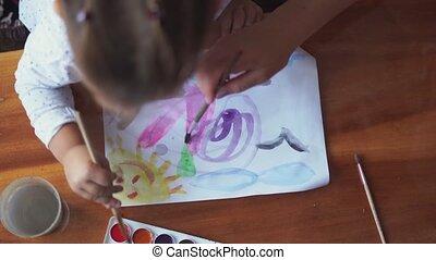 aquarelle, brush., palette, fin, passe-temps, haut, classe, kids., peinture, créatif, activité