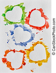 aquarelle, cœurs, blanc, fond
