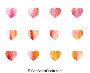 aquarelle, cœurs, fond