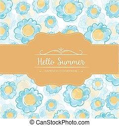 aquarelle, carte, floral, été, bonjour, message