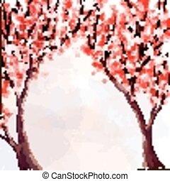 aquarelle, cerise, blossom., illustration