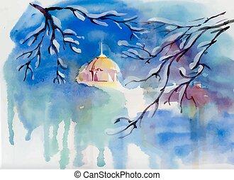 aquarelle, church., paysage hiver, village