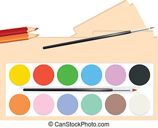 aquarelle peintures palette palette paints vecteur search clip art illustration. Black Bedroom Furniture Sets. Home Design Ideas