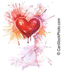 aquarelle, coeur, fond, vertical, rouges