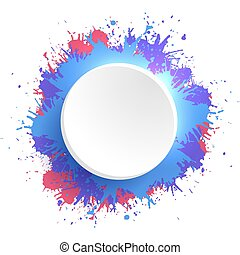 aquarelle, coloré, cadre, créativité, élément, splashes., vecteur, gabarit, ton, rond