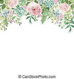 aquarelle, conception, floral, verdure