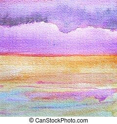 aquarelle, coucher soleil, 4