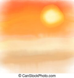 aquarelle, coucher soleil, fond, 2005