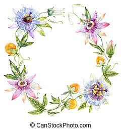 aquarelle, couronne florale