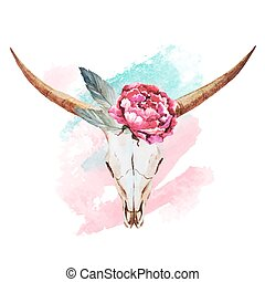 aquarelle, crâne, taureau