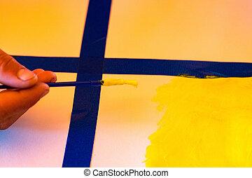 aquarelle, dessin, fond, peinture, enfants, résumé, papier, brosse blanche caresse
