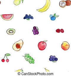 aquarelle, différent, nourriture, modèle, papier peint, seamless, main, conditionnement, conception, dessiné, fruits., types