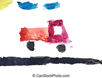 aquarelle, enfants, piste, dessin