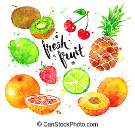 aquarelle, ensemble, fruit