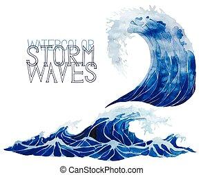 aquarelle, ensemble, orage, vagues