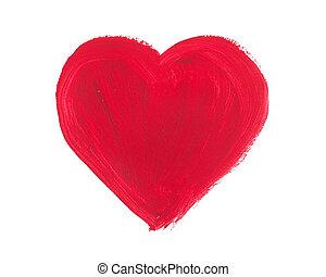 aquarelle, et, acrylique, cœurs, isolé, sur, a, fond blanc
